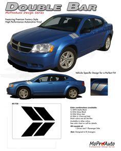 AVENGED DOUBLE BAR : Hash Style Vinyl Graphics Kit for 2008 2009 2010 2011 2012 2013 2014 Dodge Avenger