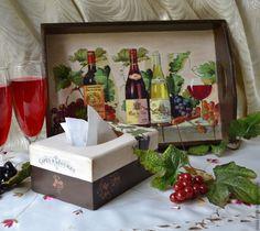 """Купить Поднос и салфетница """"Вино и виноград"""" - коричневый, поднос, салфетница, Декупаж, объемные элементы"""
