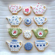 1 Dozen Tea Party Mini Cookies tea cups by SewLaTiDoughBoutique, $10.00