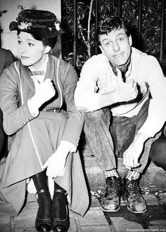 """Thumbs up"" (Julie Andrews and Dick Van Dyke, on the set of Mary Poppins) 1960s"