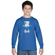 Los Angeles Pop Art Boy's Long Sleeve Graphic T-shirts - The Mad Hatter, Size: Medium, Blue