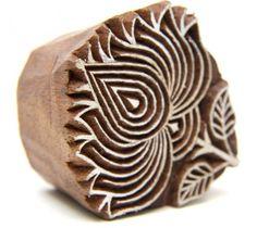 Lotus Flower Indian Wooden Block Stamp Hand Carved for Henna designs
