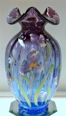 Fenton Mulberry Connoisseur Vase F Burton 1578MP 846 1750 Free Shipping USA | eBay