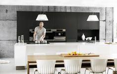 Black, grey and white kitchen