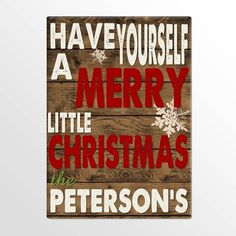 Personalized Holiday Canvas Signs - Merry Christmas - Canvas Prints