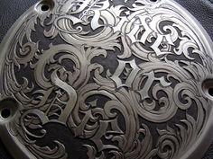 Paul Holbrecht: 'Ride or Die', relief & sculpted hand engraving in a H-D derby cover