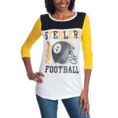 fccf9beb Pittsburgh Steelers 5th & Ocean Women's Steelers Football 3/4 Sleeve  T-Shirt