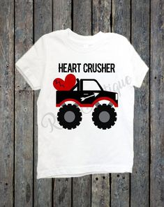 This is the perfect shirt for your little man this Valentine's Day! Shirts are WHITE and come in SHORT SLEEVE ONLY! Vinyl Colors Used: Black, Red, Grey