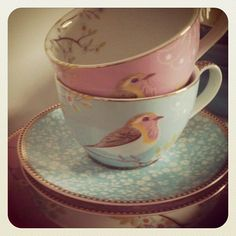 Pale Pink and Baby Blue, Vintage Inspired Teacups with Bird Illustration, Matching Floral Saucers; perfect for tea parties! #kitchen