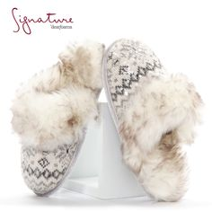 Step into luxury. These Dearfoams Signature Collection Fair Isle Scuffs feature soft, faux fur lining, plus light-catching sequins for the perfect dash of shine. #slippers #comfortandjoy