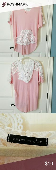 Short Sleeved Hoodie EUC Super cute hoodie!  Has short, dolman sleeves.  Oversized.  Longer in back. Has lace yoke, hood and front pocket.  Only worn once.  No flaws. Sweet Claire Tops Tunics
