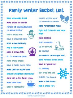 This free printable family winter bucket list is full of fun cold-weather activities for the whole family. This printable family winter bucket list is full of awesome ideas the whole family will enjoy! Christmas Activities, Family Activities, Indoor Activities, Fun Winter Activities, Kids Christmas Gifts, Time Activities, Christmas Countdown, Christmas Holiday, Party Kit