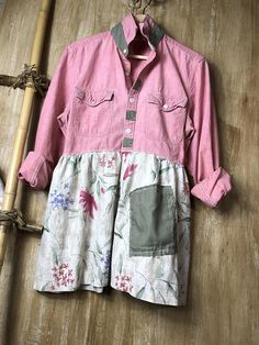 Womens Up cycled Tunic Repurposed Soft Fun and Funky