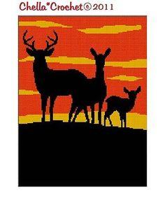 Deer Buck Doe Fawn Silhouette Choose Background Afghan Crochet Pattern Graph