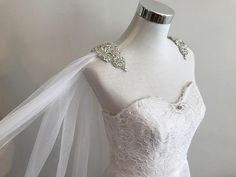 Bridal Cape Veil, Wedding Cape w/ Rhinestone Appliques on Shoulders__ 3 meters extra width, White/ Off White / Ivory Wedding Cape Veil, Wedding Jacket, Bridal Cape, Wedding Veils, Bridal Veils, Wedding Dress Cape, Wedding Hair, Wedding Dresses With Straps, Bridal Dresses