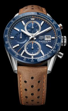 A subtly new Carrera case design and refreshed dials mark out the new Carrera Calibre 16 series, available with either a starburst blue or black dial (Ref. Elegant Watches, Stylish Watches, Luxury Watches For Men, Beautiful Watches, Cool Watches, Swiss Luxury Watches, Latest Watches, Tag Watches, Seiko Watches