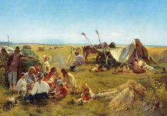 Peasant dinner during harvesting, 1871, Konstantin Makovsky. #russia #art #drawing #makovsky