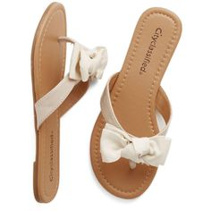 ModCloth Darling Fancy You Soon Sandal ($25) ❤ liked on Polyvore featuring shoes, sandals, flip flops, flats, cream, slide, thong slide, flats sandals, fancy flip flops and flat shoes
