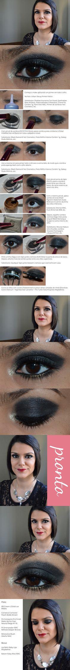 Sombra preta e batom vermelho / Black eyeshadow & red lipstick - http://www.2beauty.com.br/blog/tutoriais-em-pdf/
