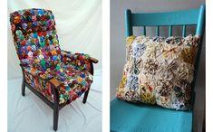 Reforme seus móveis com retalhos de tecido (Foto: Reprodução - The Big Blue Bully Bus)