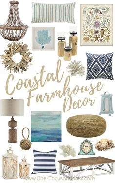 beach cottage style A collection of the Best Coastal Farmhouse Decor Accents. Beach inspired design for the fresh new style of Coastal Farmhouse decor for your home. Seaside Cottage Decor, Rustic Cottage, Coastal Farmhouse, Farmhouse Homes, Modern Farmhouse, Modern Coastal, Coastal Style, Coastal Interior, Cottage Style Decor