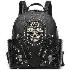 8d625dbde79 Sugar Skull Punk Art Rivet Studded Biker Purse Women Fashion Backpack  Bookbag Python Daypack Shoulder Bag