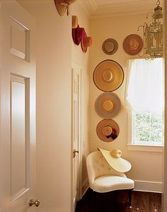 A hat rack would give organization to your collection of hats. Besides, a DIY hat rack would give you advantageous compared to ready-to-buy products. Decor, The Hamptons, Wall Hats, Cabin Decor, Decor Inspiration, Wainscott, Hat Display, Aerin Lauder, Diy Hat Rack