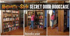 Hogwarts-Style Secret Door Bookcase For Book Lovers! Hidden Spaces, Hidden Rooms, Ikea Kitchen Catalogue, Hogwarts, Built In Shelves, Build Shelves, Hidden Shelf, Bookshelf Door, Bedroom False Ceiling Design
