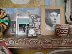 Mantelpiece in Charleston, Vanessa Bell's home.
