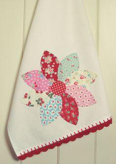 custom pretty dahlia flour sack tea towel-made-to-order