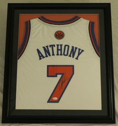 Carmelo Anthony Signed Knicks 23x27 Custom Framed Jersey (JSA)