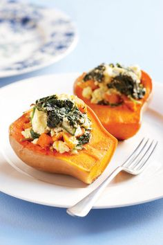 Butternut with spinach and feta Banting Recipes, Low Carb Recipes, Cooking Recipes, Healthy Recipes, Banting Diet, Eggless Recipes, Pumpkin Recipes, Kos, Braai Recipes