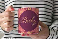 Personalized Mug Mug With Name Floral Mug Purple Mug Cute Mug Pretty Mug Name Mug Flower Mug Mugs for Her Personalized Cup Ceramic Mug P7511
