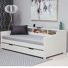 Tyler White Wooden Day Bed with Guest Bed Trundle Daybed Room, Daybed With Trundle, Bedroom Bed, Bedroom Hacks, Room Ideas Bedroom, Bedroom Decor, Single Beds With Storage, Kids Beds With Storage, Small Girls Bedrooms