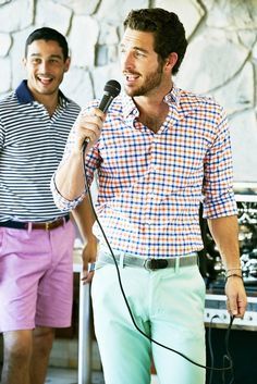 Im liking his Gingham style.  File under: Patterns, Gingham, Stripes, Chinos, Shorts, Spring