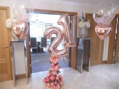 """Rose gold balloons 40"""" Birthday Foil Mylar Party Numbers Custom Age Happy 30 21"""