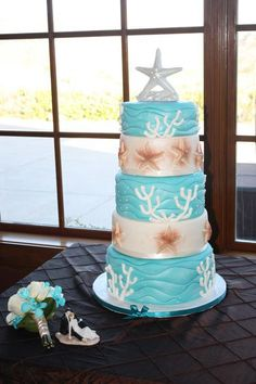 Beach & Ocean Wedding Cake    www.facebook.com/swankycake