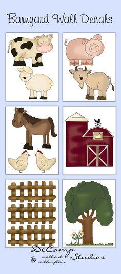 Barnyard Farm Animals Wall Art Decals Stickers Kids Room Decor