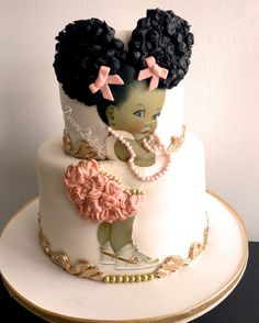 Look at this stunning cake from Danielle @devinedelightsincorporated I especially love the roses on the pants! Divine!!!! #devinedelightsincorporated #devinedelights #babycake #afropuffs #divinedigitaldiva