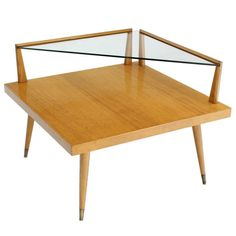 Mid Century Modern Two Tier Corner Coffee End Table   From a unique collection of antique and modern side tables at http://www.1stdibs.com/furniture/tables/side-tables/