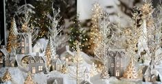 Around the Watts House: Pottery Barn Inspired Christmas Village. I always wanted a Christmas village! Noel Christmas, Little Christmas, Winter Christmas, Vintage Christmas, Christmas Ornaments, Christmas Glitter, Outdoor Christmas, Silver Ornaments, White Christmas