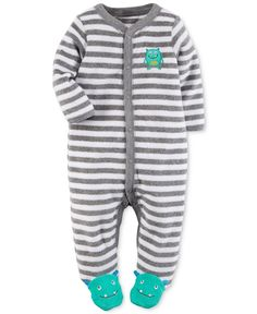 Carter's Baby Boys' Striped Monster Footed Coverall