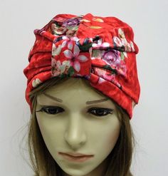 Floral turban hat for women, velvet turban, red turban, top knotted turban, vintage style hat for women, front knot turban by accessoriesbyrita on Etsy Turban Hat, Turban Headbands, Beanie Hats, Head Accessories, Handmade Baby, Hats For Women, To My Daughter, Vintage Fashion, Velvet