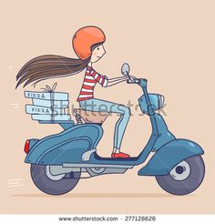 Cartoon pretty girl riding on a scooter in helmet ,pizza delivery. Vector illustration