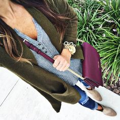 Love the non-form fitting henley, booties, and long cardi. Purse is a fun color!