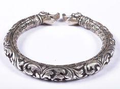 925 Solid Sterling Silver Bangle Nice Rajasthan Traditional Desing 56 mm JSBG-39 #Handmade #Bangle