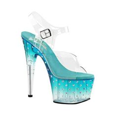 """73.  STRIPPER SHOES OF MY DREAMS! Luster and glitz are everything this ankle-strap sandal is. Featuring multi-size rhinestones studded on the outside of the tinted 7"""" heel and 2 3/4"""" platform bottom."""