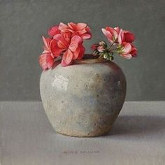Ingrid Smuling. Artist. Born 1944. Schooled in fine arts at the Academy in Hague and gas continued to live there as an art teacher. Her paintings are exquisite. Still life's with intimate pots and glassware. A simple porcelain figurine or post card. Little jewels.