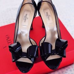"valentino couture bow d'orsay pump valentino bow pumps in patent leather. only worn twice and is in great condition. almost like new. 4 1/4"" heel with hidden slight platform. Valentino Shoes"