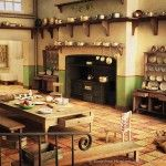 Victorian kitchen, shelves, table, range, scullery